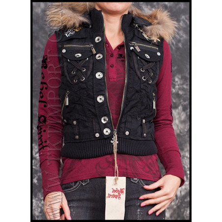 Sleeveless Black Jacket Women Rebel Spirit