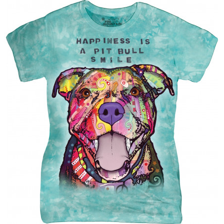 Dog T Shirts For Women Pit Bull Smile Ladies T-Shirt The Mountain