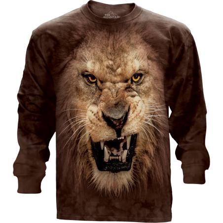 Big Face Roaring Lion Long Sleeve Tee