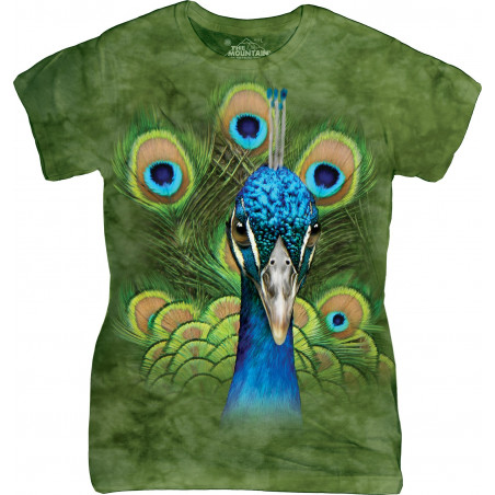 Vibrant Peacock Ladies T-Shirt The Mountain
