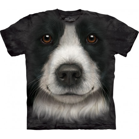 3D Border Collie Face T-Shirt The Mountain