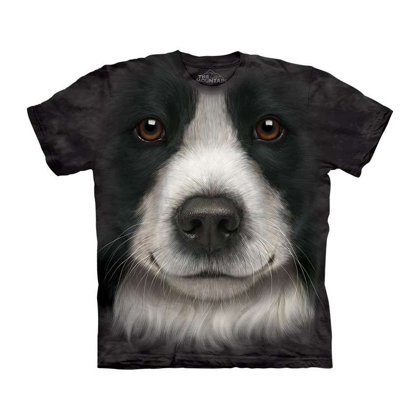 Border collie face t shirt the mountain for Dog t shirt for after surgery