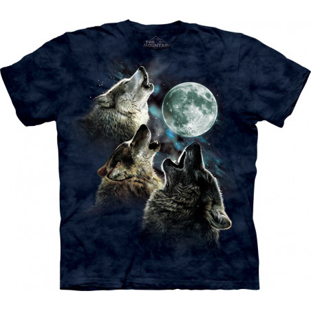 Three Wolf Moon in Blue T-Shirt The Mountain