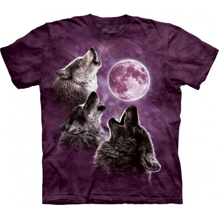 Three Wolf Moon in Purple T-Shirt The Mountain