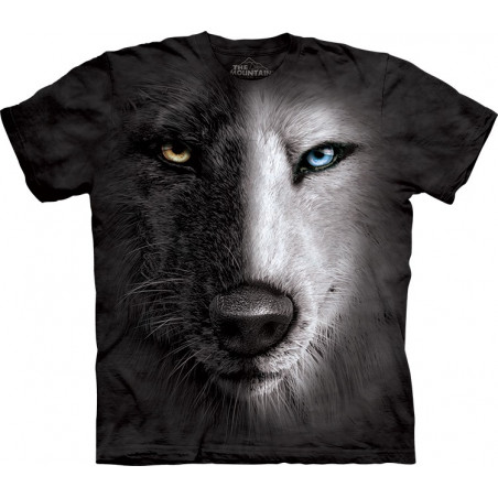 Black And White Wolf Face T-Shirt