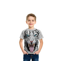 Big Face Tribal White Tiger T-Shirt