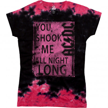 AC-DC - Shook Me Juniors - Tie-Dye Juniors Long Length T-Shirt
