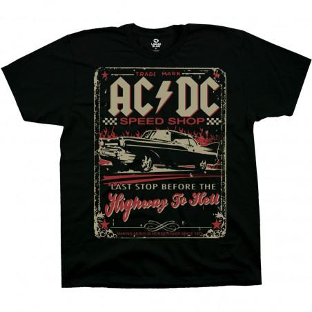 AC-DC Speedshop Black T-Shirt Liquid Blue