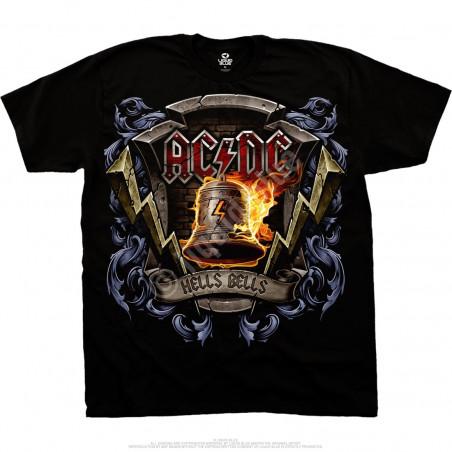 AC-DC Hells Bells Shield Black T-Shirt Liquid Blue