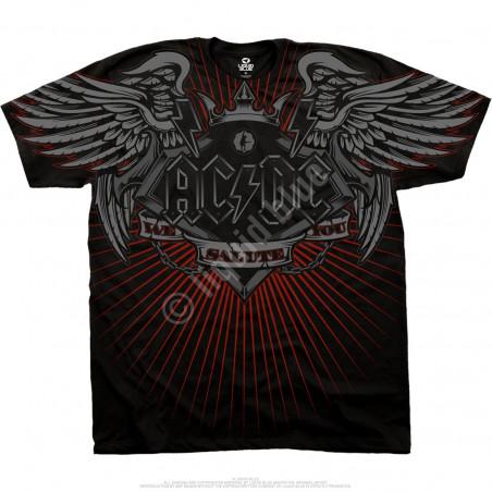 AC-DC Salute Black Athletic T-Shirt Liquid Blue