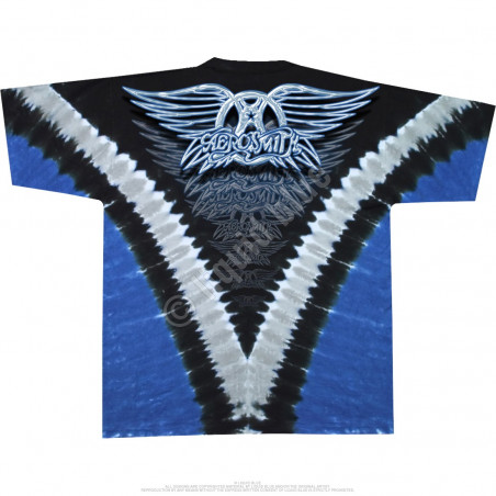 Aerosmith Guitar Tie-Dye T-Shirt Liquid Blue