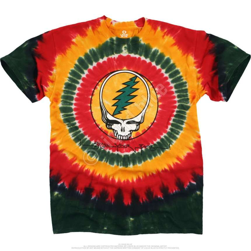 grateful dead rasta syf tie dye t shirt liquid blue