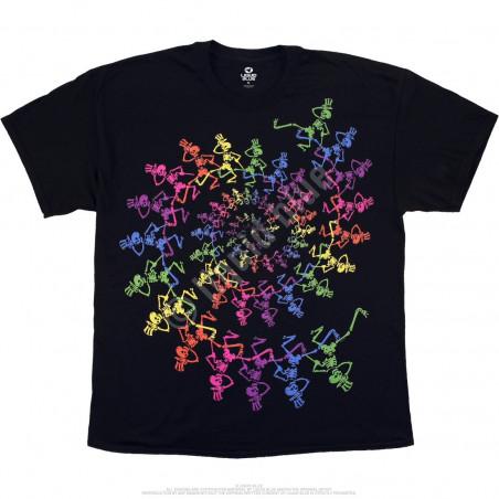 Grateful Dead Spiral Skeletons Black T-Shirt Liquid Blue