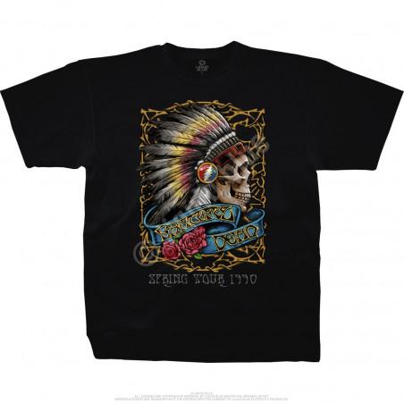 Grateful Dead Spring Tour 90 Black T-Shirt Liquid Blue