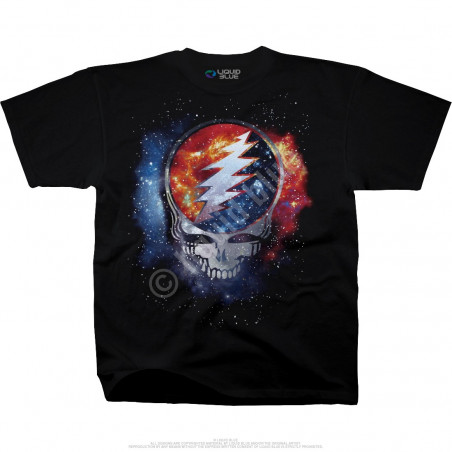 Grateful Dead Cosmic Stealie Black Athletic T-Shirt Liquid Blue
