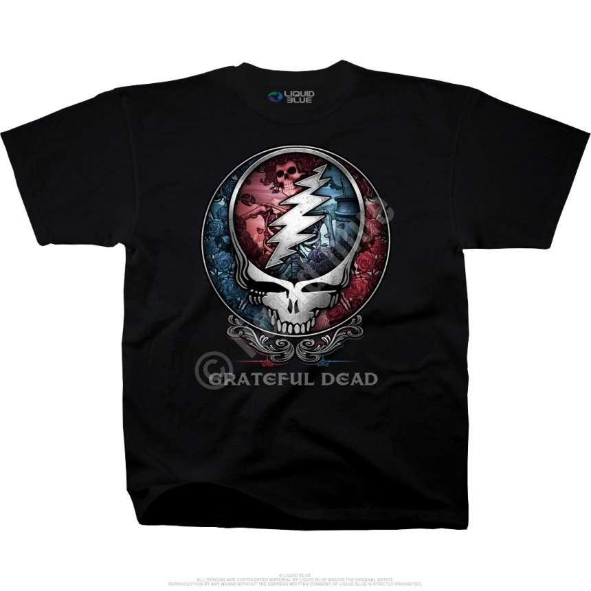grateful dead bertha syf black tshirt liquid blue