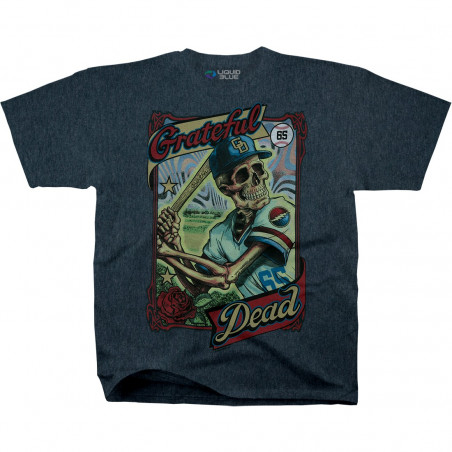 Grateful Dead - GD On-Deck - Dark Blue Heather Poly-Cotton T-Shirt