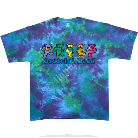 Grateful Dead Dancing Bears Tie-Dye T-Shirt Liquid Blue