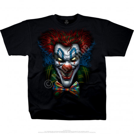 Dark Fantasy Bow Tie Clown Black T-Shirt Liquid Blue