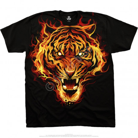 Dark Fantasy Fire Tiger Black T-Shirt Liquid Blue