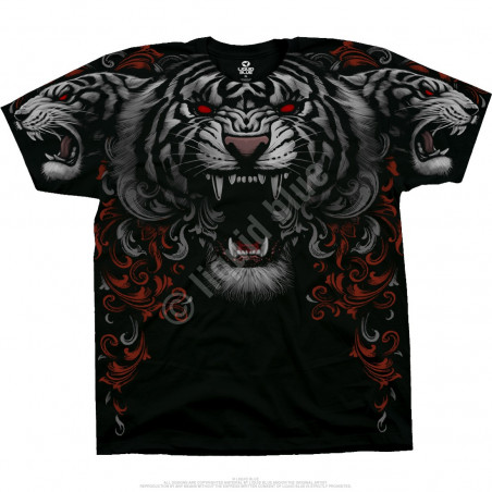 Dark Fantasy Three Tiger Roar Black T-Shirt Liquid Blue