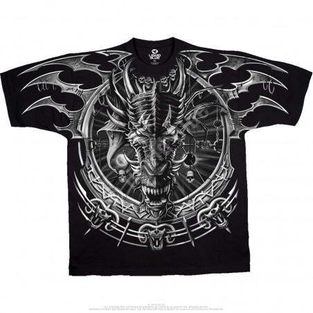 Dark Fantasy Dragon Catcher Black T-Shirt Liquid Blue