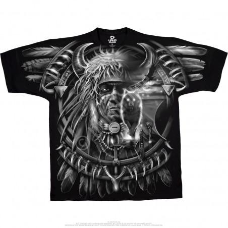 Dark Fantasy Wolf Dreamcatcher Black T-Shirt Liquid Blue