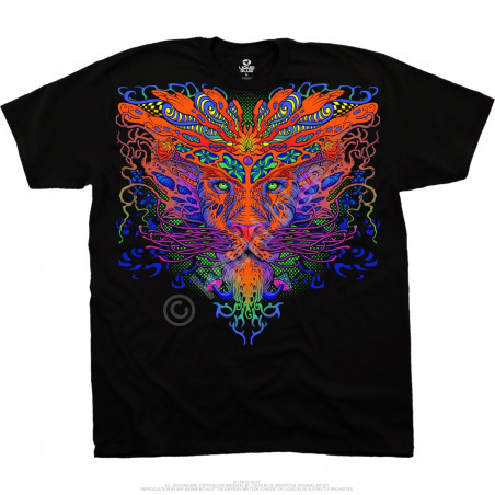 Light Fantasy Trippy Lion Black T-Shirt Liquid Blue