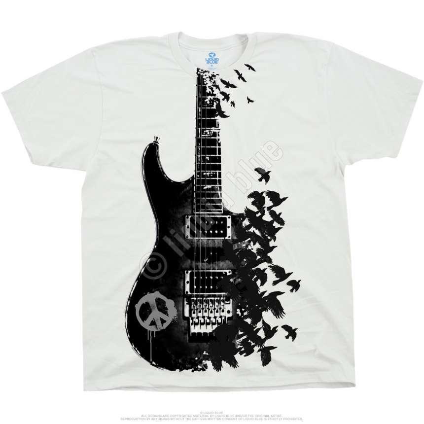 7becd07bf13 Musica Crow Guitar White T-Shirt Liquid Blue - clothingmonster.com