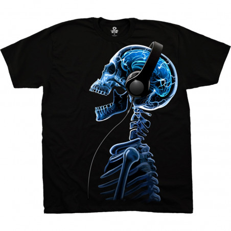 Musica Skelephones Black T-Shirt Liquid Blue