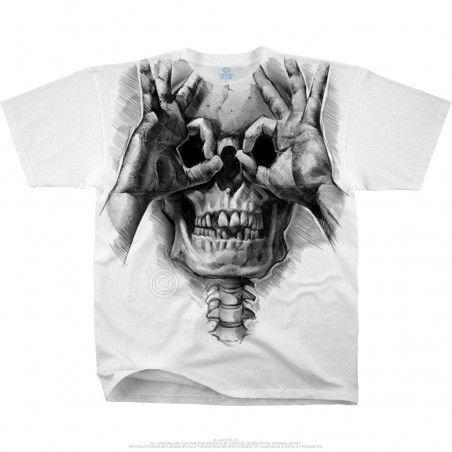 Skulls Peek-a-Boo White T-Shirt Liquid Blue