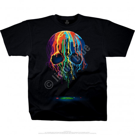 Melting Skull Black Athletic T-Shirt Liquid Blue