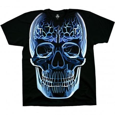 Glass Skull Black T-Shirt Liquid Blue
