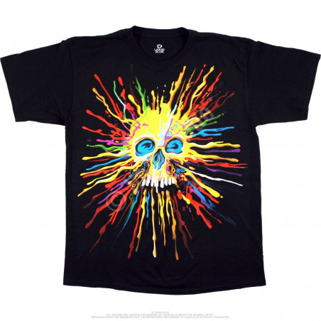 Neon Skull Black T-Shirt Liquid Blue