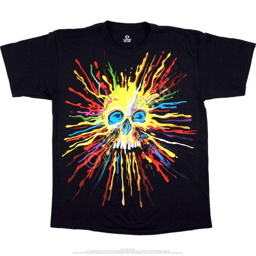 Neon Skull Black T Shirt Liquid Blue