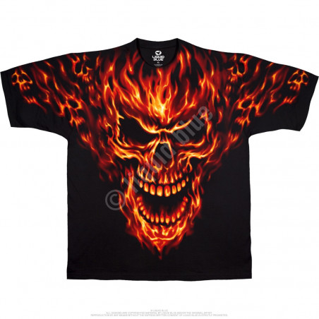 Skulls - Raging Inferno - Black T-Shirt
