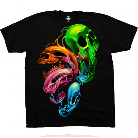 Skulls - Liquid Neon Skulls - Black T-Shirt