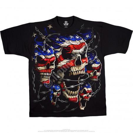 Skulls Patriotic Black T-Shirt Liquid Blue