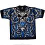 Skulls - Blue Flame Skull - Black T-Shirt