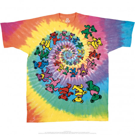 Grateful Dead Spiral Bears Tie-Dye T-Shirt Liquid Blue