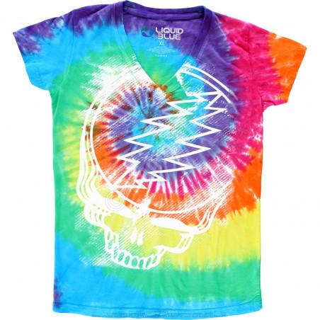 Grateful Dead Stealie Tie-Dye Juniors Long Length V-Neck T-Shirt