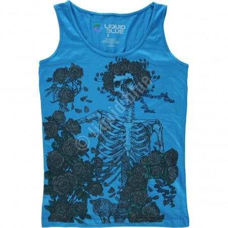 Grateful Dead Skeleton And Roses Tie-Dye Juniors Tank Top T-Shirt