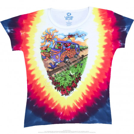 Grateful Dead Summer Tour Bus Tie-Dye Juniors Long Length T-Shirt