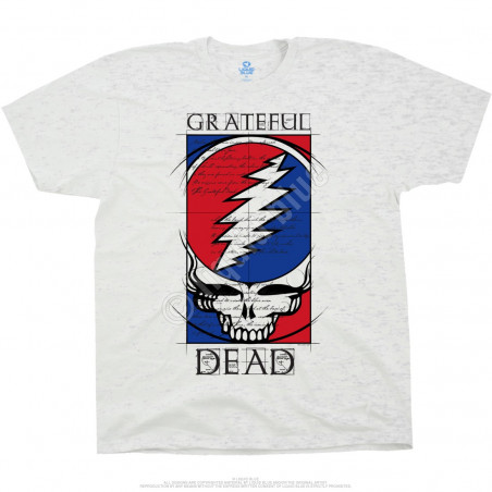 Grateful Dead Steal Your Blueprint Ash T-Shirt Liquid Blue