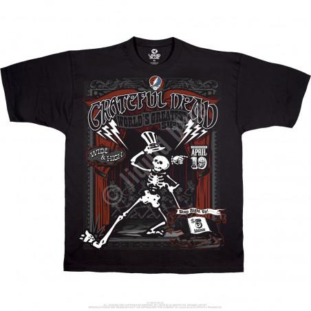 Grateful Dead Show Time Black Athletic T-Shirt Liquid Blue