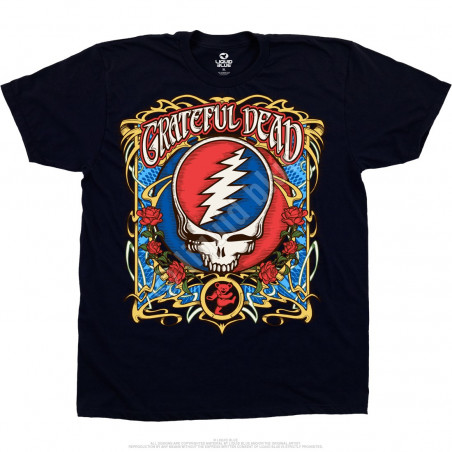 Grateful Dead Steal Your Roses Navy T-Shirt Liquid Blue