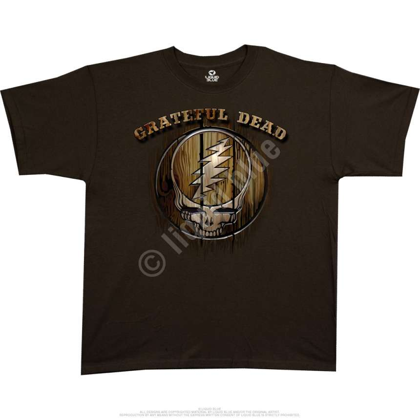 Grateful dead brand brown athletic t shirt liquid blue for Thick t shirts brands