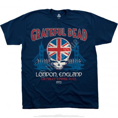 Grateful Dead Wembley Empire Pool Navy Athletic T-Shirt Liquid Blue