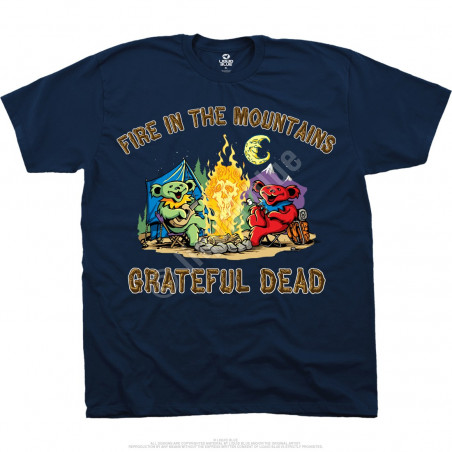 Grateful Dead Fire In The Mountain Navy T-Shirt