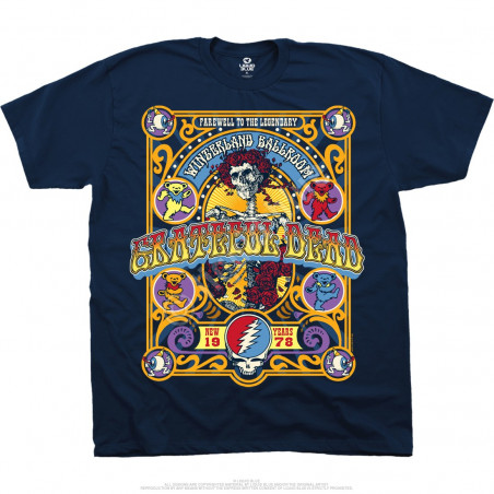 Grateful Dead Closing Of Winterland Navy T-Shirt Liquid Blue